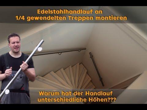 Edelstahl Handlauf montieren - Wandmontage bei gewendelter Treppe