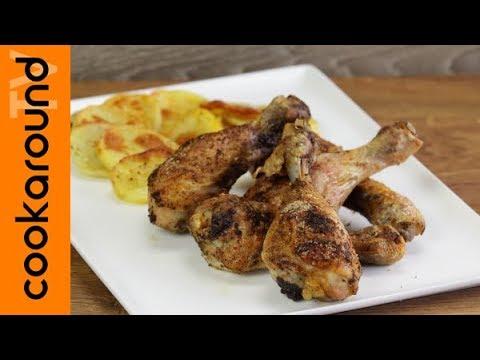 Pollo speziato al forno con patate