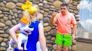Nastya and Papa vs funny toy dogs! Pretend play with doggies twins