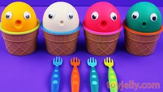 4 Colors Play Doh Ice Cream Cups Masha and The Bear Shopkins Kinder Surprise Egg Fun for Kids