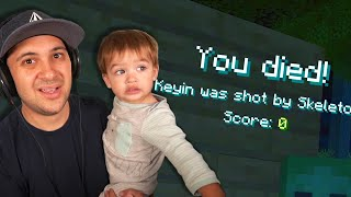 PLAYING MINECRAFT WITH MY 1-YEAR-OLD IS HARD... | Father Son Minecraft
