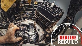 Two-stroke engine rebuild time-lapse - 1978 Kawasaki KE100 motorcycle   Redline Rebuild S2E2