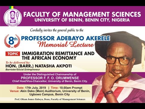 Watch Live: Faculty of Management Science, 8th Professor Adebayo Akerele Memorial Lecture, UniBen