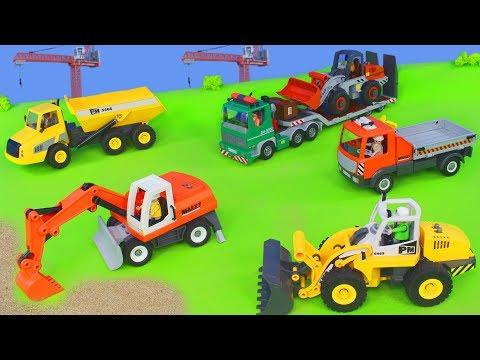 Bagger, Trucks, Kran, Lastwagen & Spielzeugautos Baustelle | Construction Site Excavator Unboxing