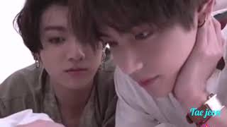Taekook Laying In Bed Together Watching Winter Bear😍🐇🐅