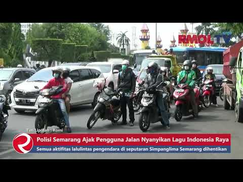 Polisi Semarang Ajak Pengguna Jalan Nyanyikan Lagu Indonesia Raya