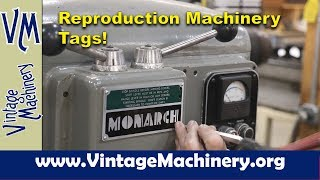 Reproduction Machinery Tags By Von Industrial