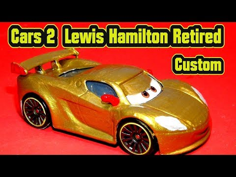 Pixar Cars 2 Lewis Hamilton WGP Custom Retired With Gold Paint From Mattel Diecast