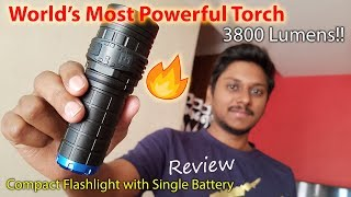 World's Most Powerful Flashlight With Single Battery 3800 Lumens!!