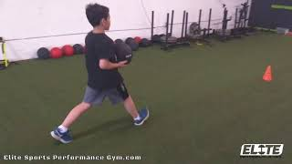 Elite Youth Athlete working to master the walking lunge movement