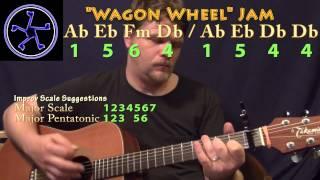 Wagon Wheel Jam - 1564-1544 in Ab Major - Acoustic Guitar Instrumental Track