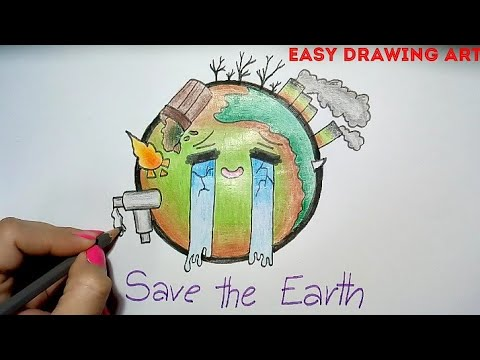 how to draw save earth poster drawing || easy & simple save environment drawing