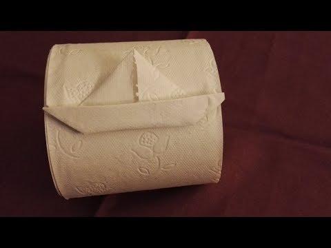 Toilettenpapier falten Origami Segelboot falten