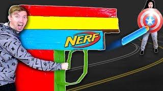 WORLDS BIGGEST NERF Blaster!! (from Cardboard Box Fort) - Water Bottle Test Fire Challenge