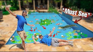 WE TURNED A SWIMMING POOL INTO A FISH AQUARIUM!! (pond Reveal)