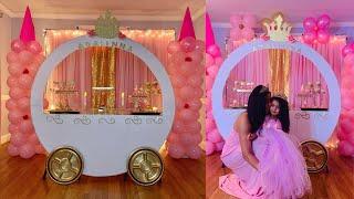 PINK AND GOLD PRINCESS PARTY/ DIY PRINCESS CARRIAGE, CINDERELLA CARRIAGE,
