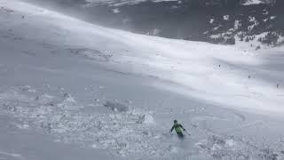 Max jumping cornice at Whales Tail at Breck