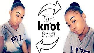 How To: Easy Top Knot Bun On Short/Medium Natural Hair | Kinzey Rae