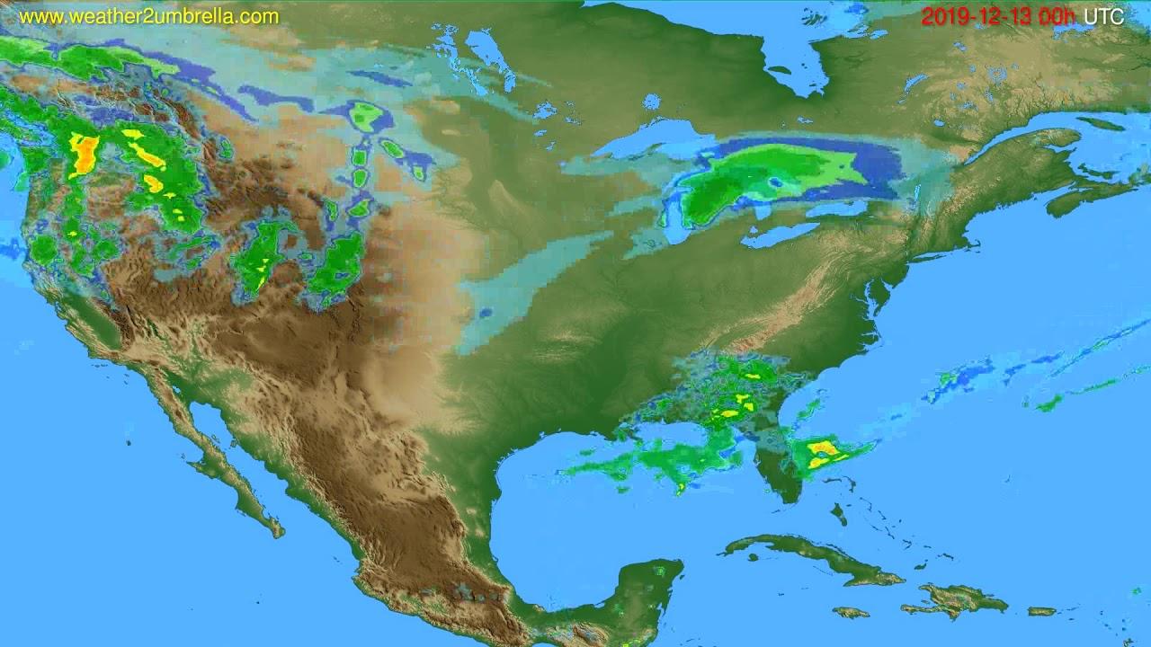 Radar forecast USA & Canada // modelrun: 12h UTC 2019-12-12