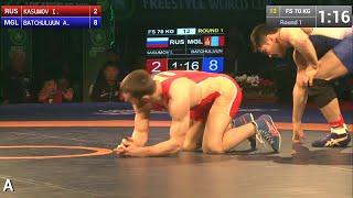 Round 1 FS - 70 kg: Israil KASUMOV (RUS) df. Ankhbayar BATCHULUUN (MGL) by FALL, 8-10