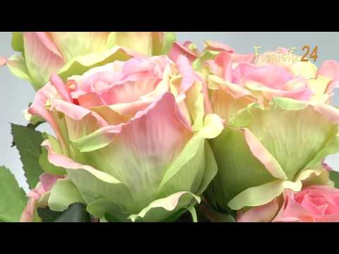 Floristik24 Rosenbusch künstlich Grün, Rosa