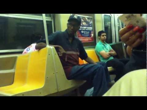 Funny crazy man on NYC Subway