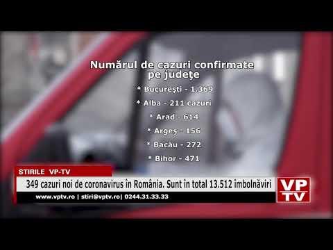 349 cazuri noi de coronavirus în România. Sunt în total 13.512 îmbolnăviri