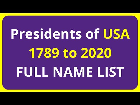 FULL NAME LIST: Presidents of United States usa 1789 to 2020
