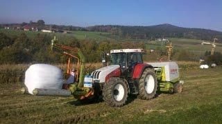 preview picture of video 'Steyr cvt Maisballen pressen und wickeln wolagri 3 maize balling Zetor Maishäckseln Claas Rollant'