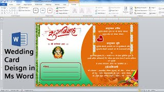 Indian Wedding Invitation Card Design Using Microsoft Office Word - Ready To Print