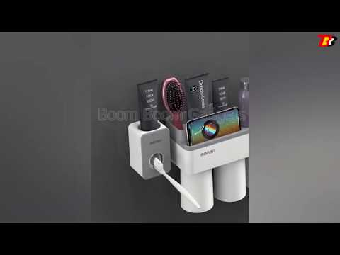 Zahnbürstenhalter : Zahnbürstenhalter Set mit Zahnpasta Auspressgerät