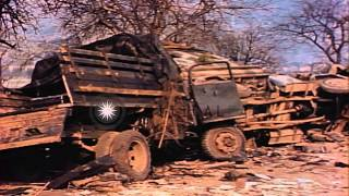 View of wrecked vehicles in Cologne City in Germany during World War 2 HD Stock Footage