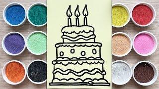 Chị Chim Xinh TÔ MÀU TRANH CÁT BÁNH SINH NHẬT 3 TẦNG - Đồ chơi trẻ em - Colored Sand Painting toys