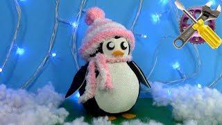 Пингвин из носка без шитья! Новогодний декор!