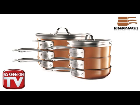 Gotham Steel Stackmaster Space Saving Nonstick Stackable Cookware Commercial