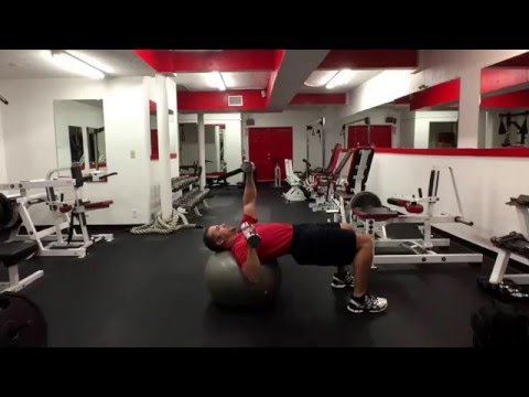 SB alternating arm DB chest press