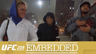 On Episode 4 of UFC 208 Embedded, featherweight title contender Holly Holm demonstrates her skills to the morning talk show audience. Opponent Germaine de Ra...