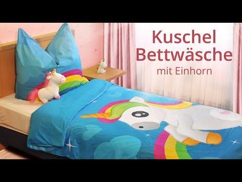 Kuschel-Bettwäsche mit Einhorn