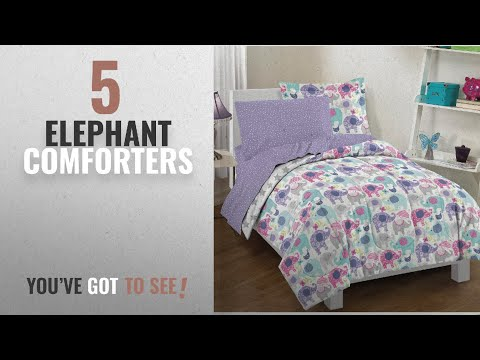 Top 10 Elephant Comforters  [2018]: Dream Factory 2A851701PP Ellen Elephant Comforter Set, Twin,