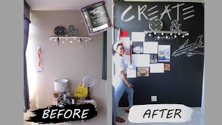 CHALKBOARD PAINT On Feature Wall. DIY ROOM MAKE OVER.