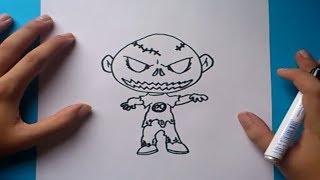 Como dibujar un zombie paso a paso | How to draw a zombie