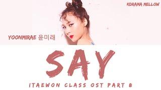 Yoonmirae (윤미래) - Say (Itaewon Class OST Part 8) Lyrics (Han/Rom/Eng/가사)