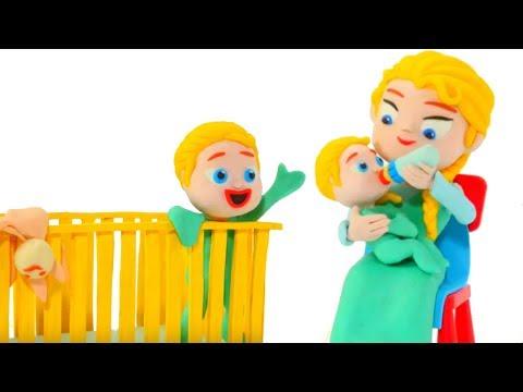 FROZEN ELSA BABY SITTER ❤ Spiderman, Hulk and Frozen Play Doh Cartoons For Kids (видео)