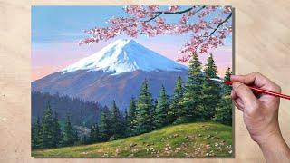 Acrylic Painting Mt. Fuji Landscape