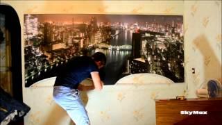 А натяжная стена с фотопечатью и подсветкой-красиво)).Ночной город