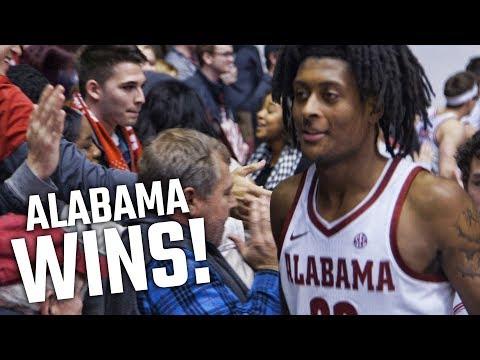Alabama celebrates win over Auburn with fans