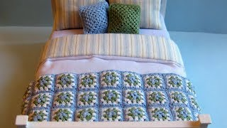 1/12th Scale Crocheted Granny Square Throw / Afghan