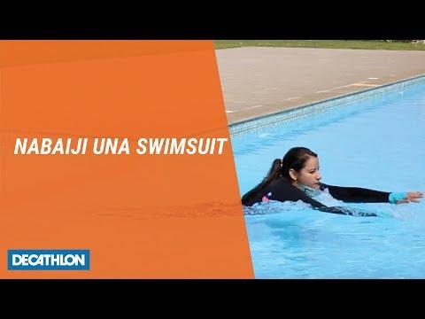 Decathlon Full Sleeves Printed Black Women Swimming Top