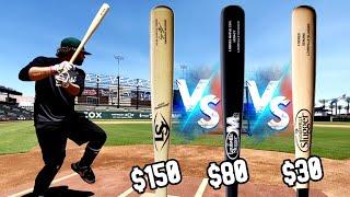 $30 WOOD BAT vs $150 WOOD BAT - Louisville Slugger Wood Bat Reviews - Bat Bros in VEGAS