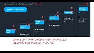 Reciba sus 5 (LEGIT) tokens Legitcoin ($ 10)  SOLO con registrarse